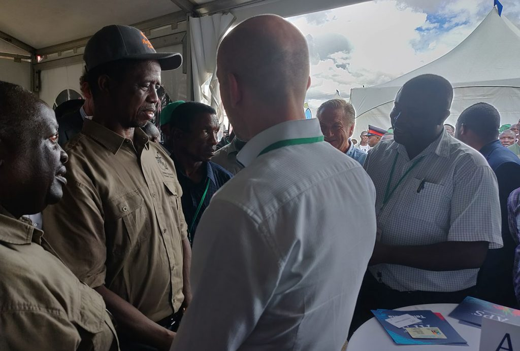 H.E. President of Zambia Edgar Lungu visited the Agritech Fair and Nordic Pavilion. SME Aisle company presenting their products to the president.